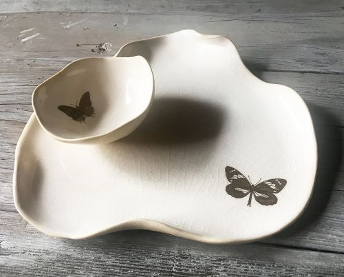 Ceramic Dishes and Bowls with Gold Flourishes