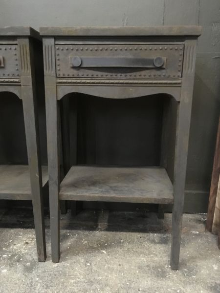 iron painted side tables with studded nails