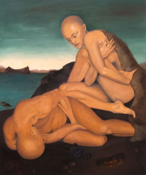 The Vulnerable Human: Man and Woman on Rock