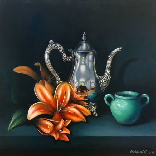 Silver Carafe, Star Lily and Green Vase