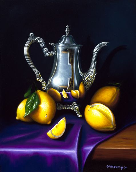 Silver Carafe and Lemons