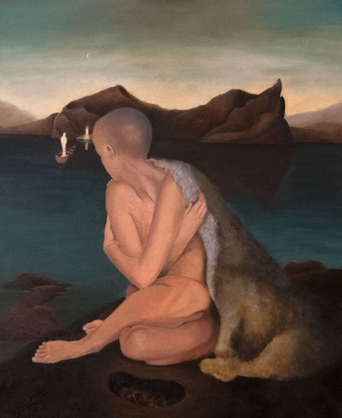 The Vulnerable Human: Seated Woman on Rock