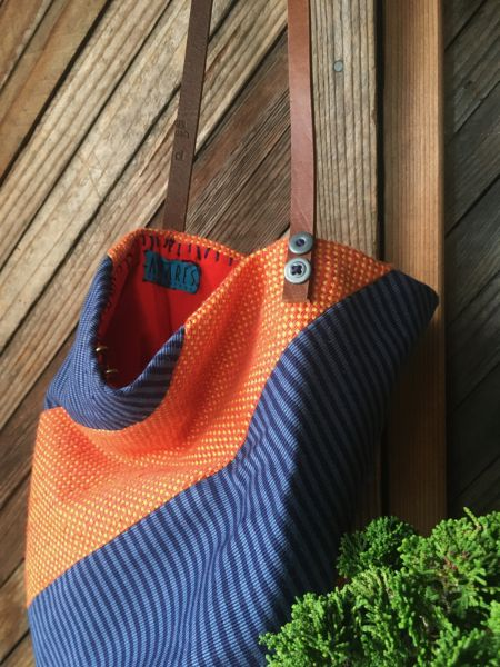 origami orange and blue bag