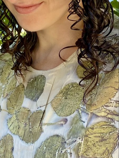 Ecoprinted silk blouse