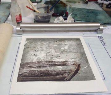 Hand Print with Mix Mediums...Monoprint Workshop (Sept.)